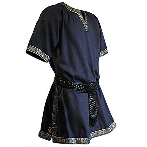 túnica Medieval Azul de Manga Corta con Cuello en V Dobladillo de Oro Hombres Bata Larp Robusta