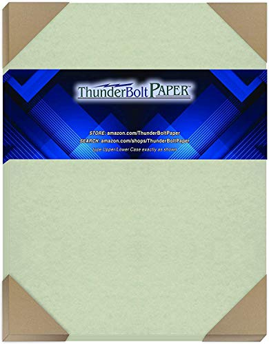 50 Light Green Parchment 60# Text (=24# Bond) Paper Sheets - 8.5 X 11 Inches Stationery Paper Colored Sheets Letter Size - 60 Pound is Not Card Weight - Vintage Colored Old Parchment Semblance