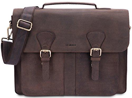 LEABAGS Scottdale Aktentasche 15 Zoll Laptoptasche aus echtem Leder im Vintage Look