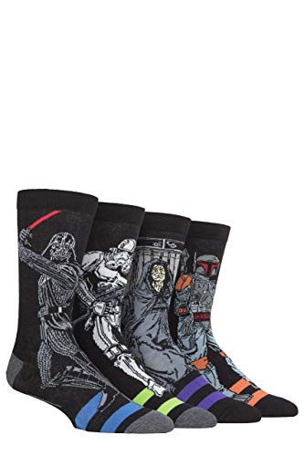 Sock Shop Mens 4 Pair Disney Star Wars Schurken Darth Vader, Boba Fett, Emporor und SA-Mann Socken 11.06 Mens Assorted