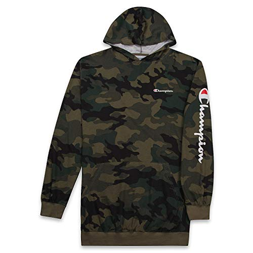 Champion Men's Big and Tall Long Sleeve Pullover Jersey Lightweight Hoodie Fig Camo XLT