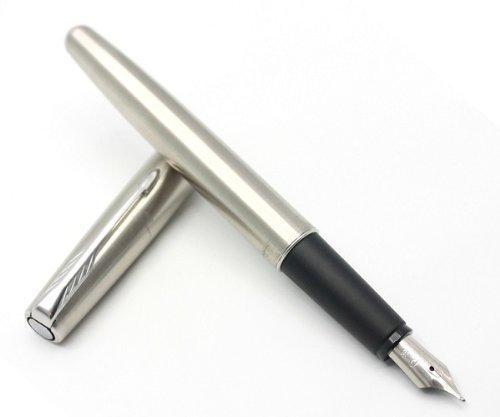 Parker, Frontier - Pluma estilográfica de acero inoxidable, acabado cromado, plumín fino de acero