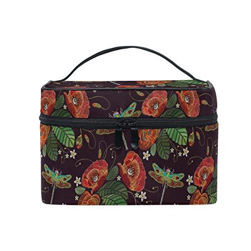 HaJie Large Capacity Makeup Bag Organiser Summer Flower Leaves Dragonfly Travel Portable Cosmetic Case Toiletry Storage Bag Wash Bag for Women Girls