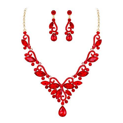 EVER FAITH Juegos de Joyas para Mujer Cristal Austríaco Boda Flor Hoja Vid Lágrima Rojo Tono Dorado Collares Pendientes Conjunto