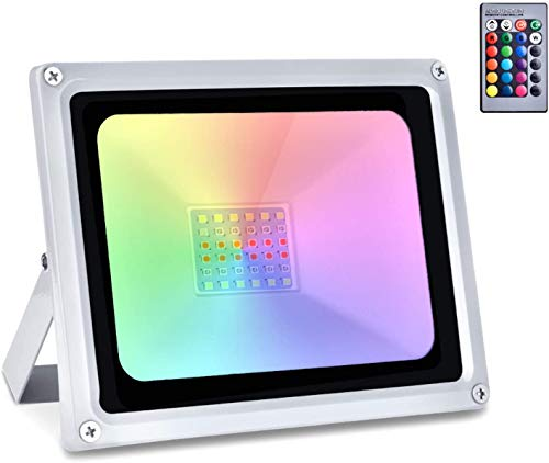 Sararoom 30W RGB Focos Led exterior,IP65 Foco LED RGB,16 Colores Proyector LED,4 Modos,Con control remoto,para Jardín,bodas,Fiestas decoraciones(Ordinario)