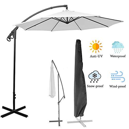 Allomn Sonnenschirm-Abdeckung für 2,7 m bis 3,9 m, wasserdicht, mit Reißverschluss, für Außenbereich, Garten, zum Aufhängen, Schwarz
