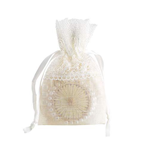 beIilan Weiß Hochzeits-Süßigkeit Tragetasche Feder Tasche Mädchen Schmuck Spitze Schmuck Getrocknete Blumen-Speicher-Beutel Slub Yarn Geschenk-Beutel