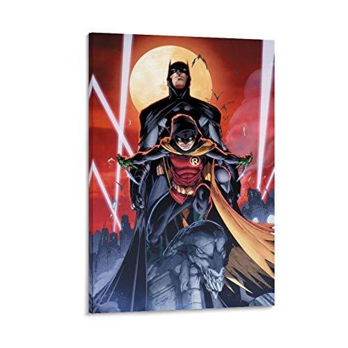 Ghychk Bat-Man & Super-Man Justice-League - Pintura artística moderna para decoración de pared para sala de estar, hogar, oficina, listo para colgar, 30 x 45 cm