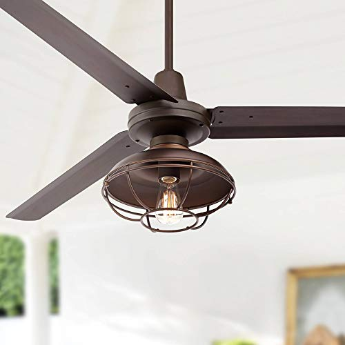 """60"""" Turbina Industrial 3 Blade Outdoor Ceiling Fan with Light LED Remote Control Oil Rubbed Bronze Metal Open Cage Damp Rated for Patio Exterior House Porch Gazebo Garage Barn - Casa Vieja"""