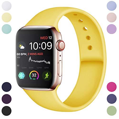 Hamile Cinturino Compatibile con Apple Watch 42mm 44mm, Cinturini Sportiva in Morbido Silicone di Ricambio per Apple Watch Series 5/4/3/2/1, M/L Mango Giallo
