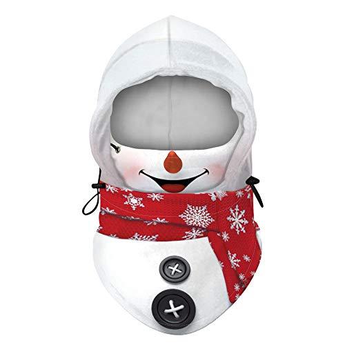 B/H pasamontañas Negro Nieve,Gorro de Peluche Verde navideño, pasamontañas Ajustable de Elasticidad polar-BXHQ020_Talla única,Cuello Calentador para Invierno Gorro
