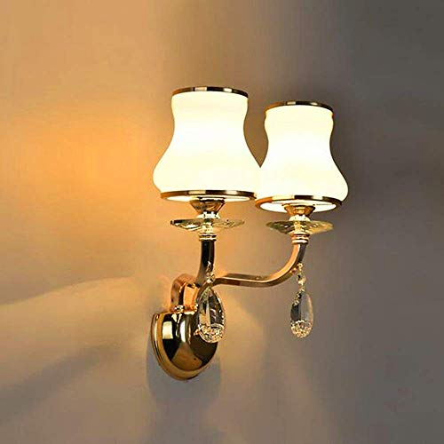 CHOUCHOU Apliques Pared El Doble Moderno Cabezas de Cristal lámpara de Cristal de la Sala de Estar Comedor Dormitorio Decoración de Pared de Metal Pared de la lámpara