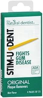 Stim-U-Dent Plaque Removers 3 Packs of 4x25 Picks/Pack (300 Picks) - Mint Flavor