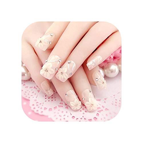 Nail Factory 24 pcs faux ongles avec de la colle Nude cristal perle décoration Sculpture Fleurs doigt bouts d'ongle faux-as show-