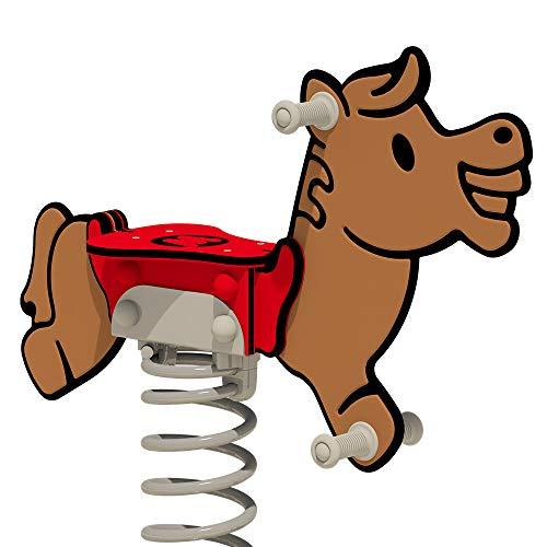 WICKEY PRO Federwippe Pferd Jolley braun/rot für öffentliche Spielplätze und Schulen - inklusive Betonanker