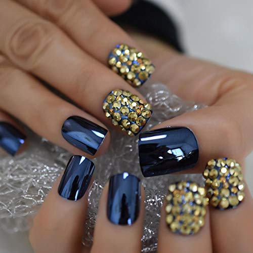 CLOAAE Short metal design 3D fake nail tips square rhinestone gorgeous nail art product blue acrylic pressed on the nail