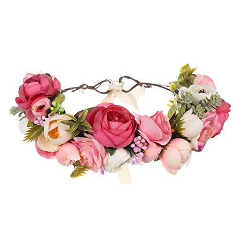 AWAYTR Blumen Stirnband Hochzeit Haarkranz Krone - Frauen Mädchen Blumenkranz Haare für Hochzeit Party (Rosa + Pfirsichrosa)
