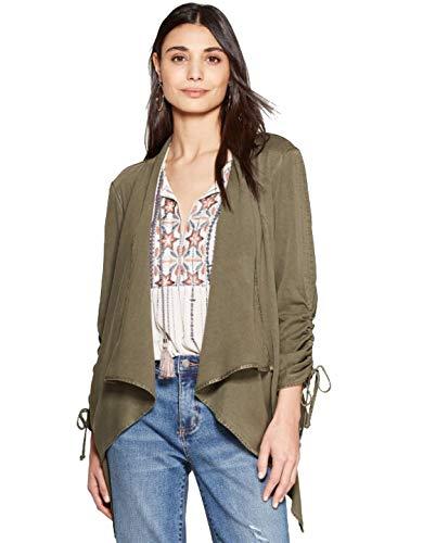 Knox Rose Women's Long Sleeve Drapey Open Jacket - Olive - Small