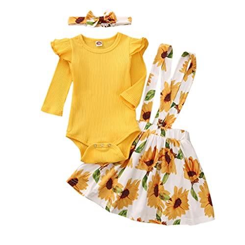 LZH Top con Mangas con Volantes para niña recién Nacida + Falda Floral con Tirantes Monos Bonitos Vestido con Diadema 3 Piezas Trajes de Falda, Amarillo, 4-5 años