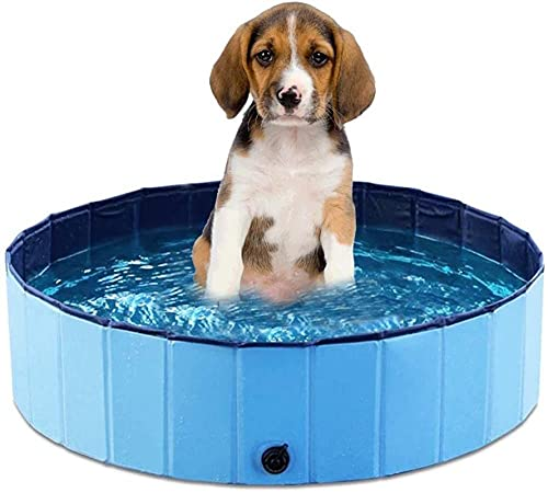 DSQXLW Paddling Pool, Dog Swimming Pool, 120 * 30 PET Dogs Swim Foldable Pool Bath, Paddle Puppy Shower Bathtub, Outdoors Pond For Summer Pets Cat Children (Color : Blue, Size : 120 * 30)