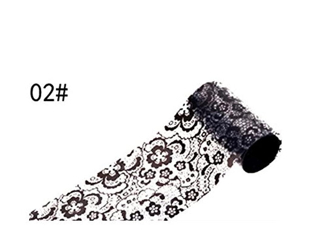 禁止する組み立てる分散Osize ブラックレースのデザインネイルアートステッカーデカールネイルチップのデコレーションブラックレースの花転写箔ネイルアートセクシーなデザインのステッカー(ブラック)