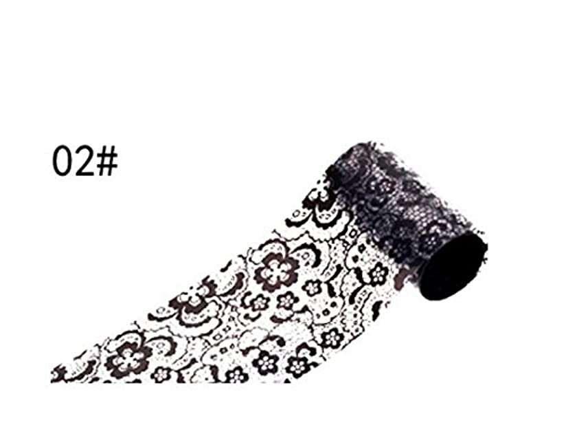 神秘的な科学雑種Osize ブラックレースのデザインネイルアートステッカーデカールネイルチップのデコレーションブラックレースの花転写箔ネイルアートセクシーなデザインのステッカー(ブラック)