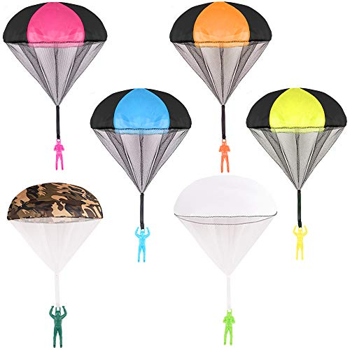Jaysompro 6pcs Parachute Toy, Tangle Free Throwing Hand Throw Flying Toys,No Battery nor Assmbly Reauired, for Children's Outdoor Play Gifts