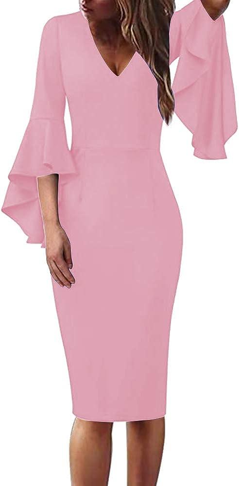Beautisun Women Sexy V Neck Flare Half Sleeve Bodycon Midi Dress Slim Cocktail Club Party Dress