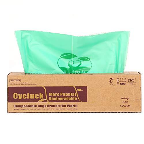 CYCLUCK 60 Stück 30L 100% Kompostierbare Müllbeutel 6L 10L 30L Biologisch Abbaubare Tüten Hergestellt aus Maisstärke für den Küchenmülleimer DIN EN 13432 (30L)