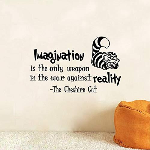 yuandp Alicia en el país de Las Maravillas Tatuajes de Pared Citas del Gato de Cheshire: La imaginación es la única Arma Vinilo Vinilo Vinilo 37 * 35CM
