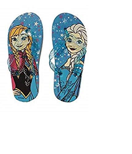 Frozen Die Eiskönigin Mädchen Flip Flop Zehentrenner Badeschuhe Badelatschen blau (33/34)