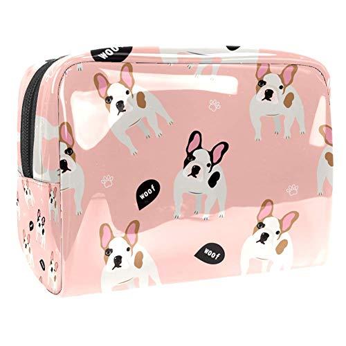 Bolsa de maquillaje portátil con cremallera bolsa de aseo de viaje para las mujeres práctico almacenamiento cosmético bolsa perro francés