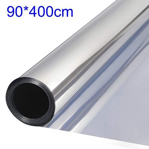 TTMOW Vinilo Pet Película Adhesiva Lámina de Espejo para Ventanas Cristal Unidireccional Protector de Privacidad Anti 99% UV y Anti 85% IR para Hogar y Oficina (90 * 400cm)