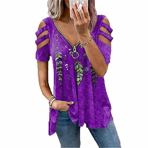 ZFQQ Camiseta Holgada de Manga Corta con Estampado de Jersey con Cremallera y Cuello en V Superior para Mujer de Verano