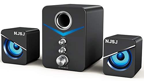 NJSJ Computer Lautsprecher mit Subwoofer,USB betriebenes 2.1 Mini Multimedia Lautsprecher System,3,5 mm AUX Eingang mit LED,Stereo Bass,verkabelter Desktop Lautsprecher für PC,Laptops