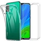 Yoowei Cover per Huawei P Smart 2020 Trasparente con [2 Pezzi Pellicola Protettiva in Vetro Temperato], TPU Morbido Silicone Sottile AntiGraffio Antiurto Custodia per Huawei Psmart 2020