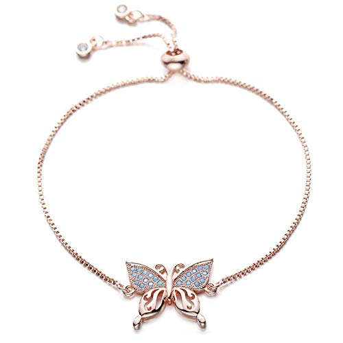 HappyL Copper Bracelet Women's Blue Cubic Zirconia Jewelry Adjustable Chain Golden Gift Idea (Color : Rose gold)