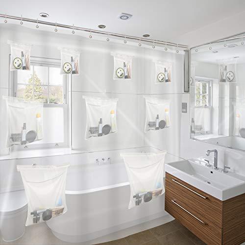 RUIFUU Clear Shower Curtain with Mesh Pockets, PEVA Plastic Shower Curtain Liner, Bath Curtains,71x71