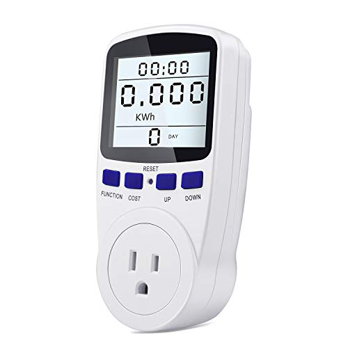 kuman KW48 Electricity Usage Monitor Plug Power Watt Voltage Amps Meter with Digital LCD, Overload Protection and 7 Display Modes for Energy Saving (Backlight), white