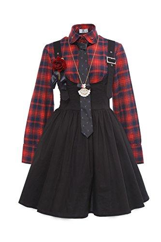 Nuoqi Punk Lolita Skirt Checked Kilt Lolita Blouse, XL, Rot