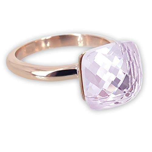 nobel-schmuck Damen-Ring Rosegold Rosa Kristall Cocktailring Zusteckring für Frauen