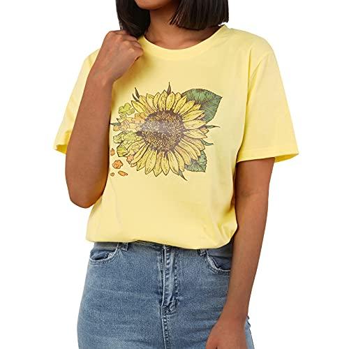 Geagodelia T-Shirt Donna Casual Maglietta Elegante Estiva Stampa a Motivo Girasole Top Estate Maniche Corte Taglie Forte Classico S-5XL Comodo Ragazza Regalo (Giallo, Medium)