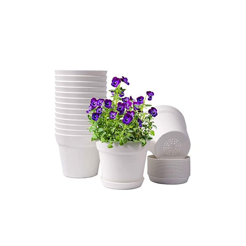 silk flower arrangements homenote pots for plants, 15 pack 6 inch plastic planters with multiple drainage holes and tray - plant pots for all home garden flowers succulents, cream white