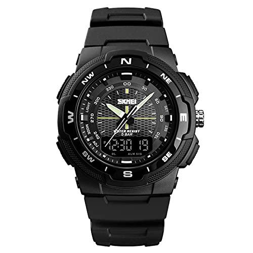 LJSF Relojes Deportivos Militares para Hombre,Resistente al Agua para Exteriores Digital Relojes con Formato 12/24 Horas, Compatible con Pantalla de Doble Zona Horaria Cronómetro Alarma,Set7