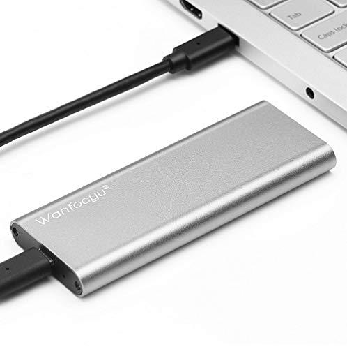 Wanfocyu USB Typ C M.2 NVMe SSD-Gehäuseadapter, USB 3.1 Gen 2 10 Gbit/s Solid State Drive Aluminium-Außengehäuse, einzigartiges Kühlrippen-Design für Gute Wärmeableitung