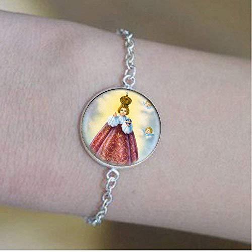 Braccialetto cattolico di Gesù di Praga. Medaglia cristiana cattolica. Charm Jewelry vetro foto gioielli