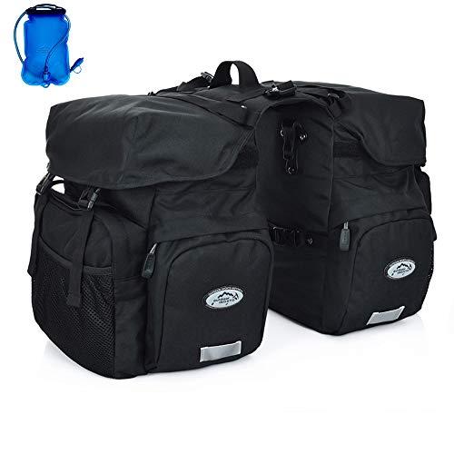 Inoxto Gepäckträger-Gepäckträgertasche, 50 l, großes Fassungsvermögen, wasserdicht, doppelte Rückfahrradtasche, mit Regenschutz und 2 l BPA-freier Trinkblase, optionaler Trinkrucksack, Schwarz