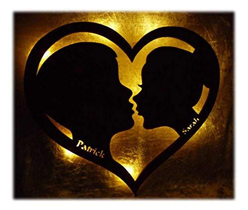 Schlummerlicht24 Led Deko-Bilder Geschenk-e mit Name-n Partner Herz, Freund Freundin Jahrestag-sgeschenke für Schlafzimmer Wohnzimmer Romantisch-e Idee
