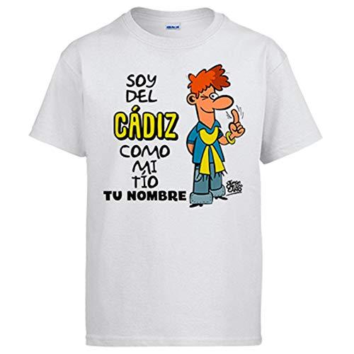 Camiseta Soy del Cádiz como mi tio Personalizable con Nombre ilustrado por Jorge Crespo Cano - Blanco, XL