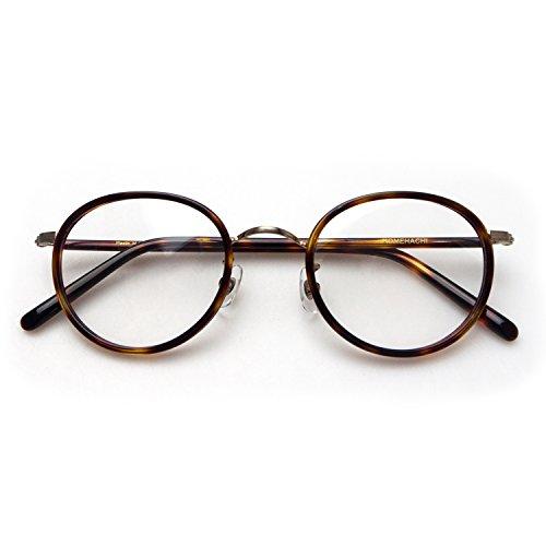 Komehachi - Womens Mens Retro Oval Optical Prescription-Ready Eyeglasses Frame with Clear Lenses (Tortoise&Bronze)